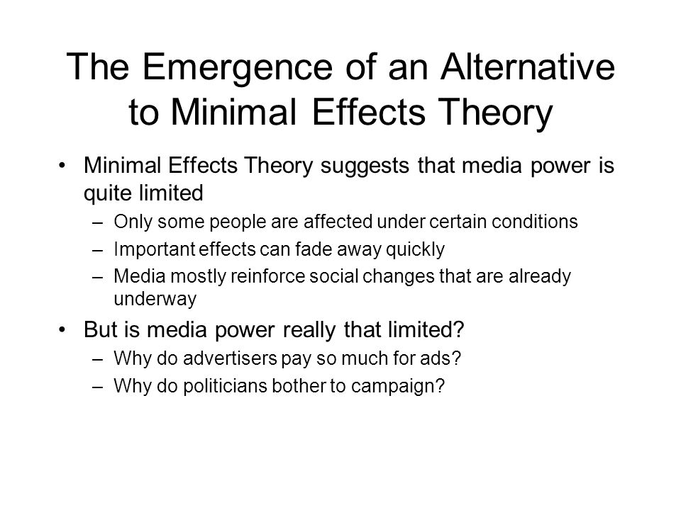 The Emergence of an Alternative to Minimal Effects Theory