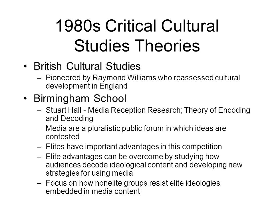 1980s Critical Cultural Studies Theories
