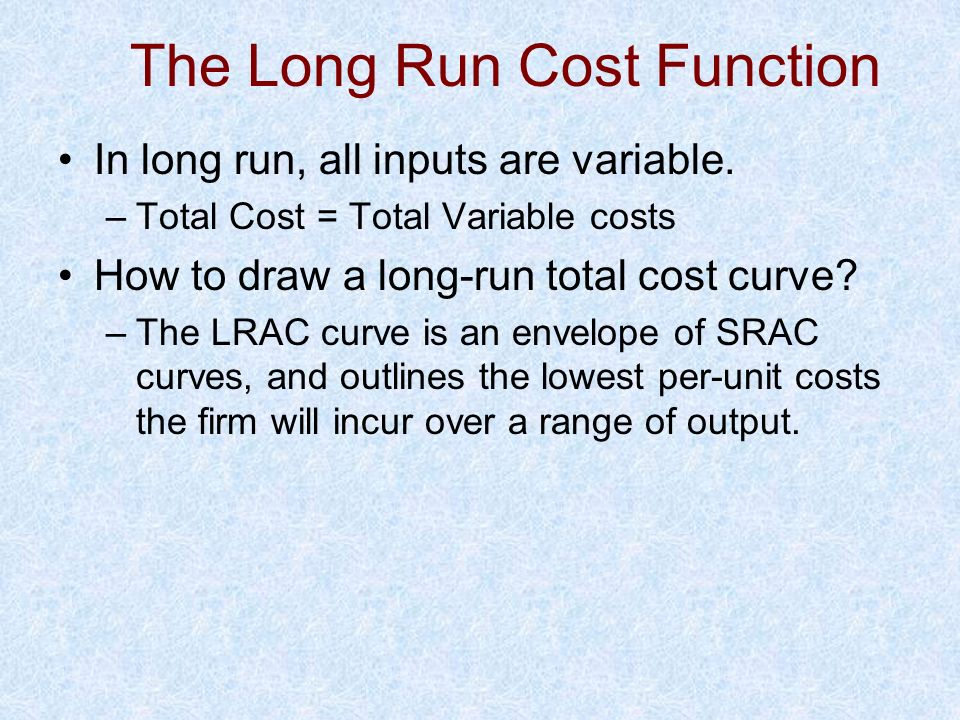 The Long Run Cost Function