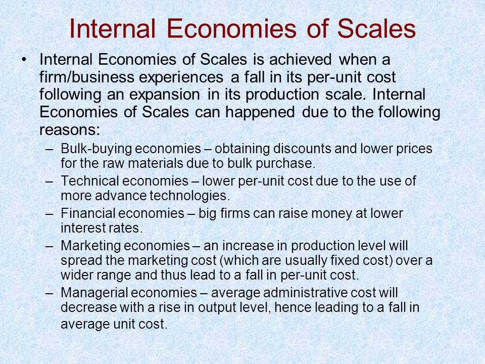 Internal Economies of Scales