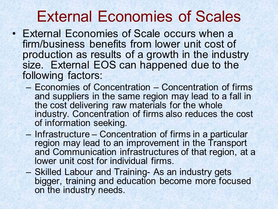 External Economies of Scales