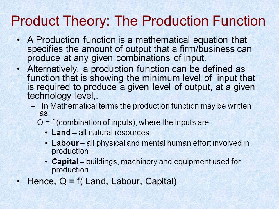 Product Theory: The Production Function