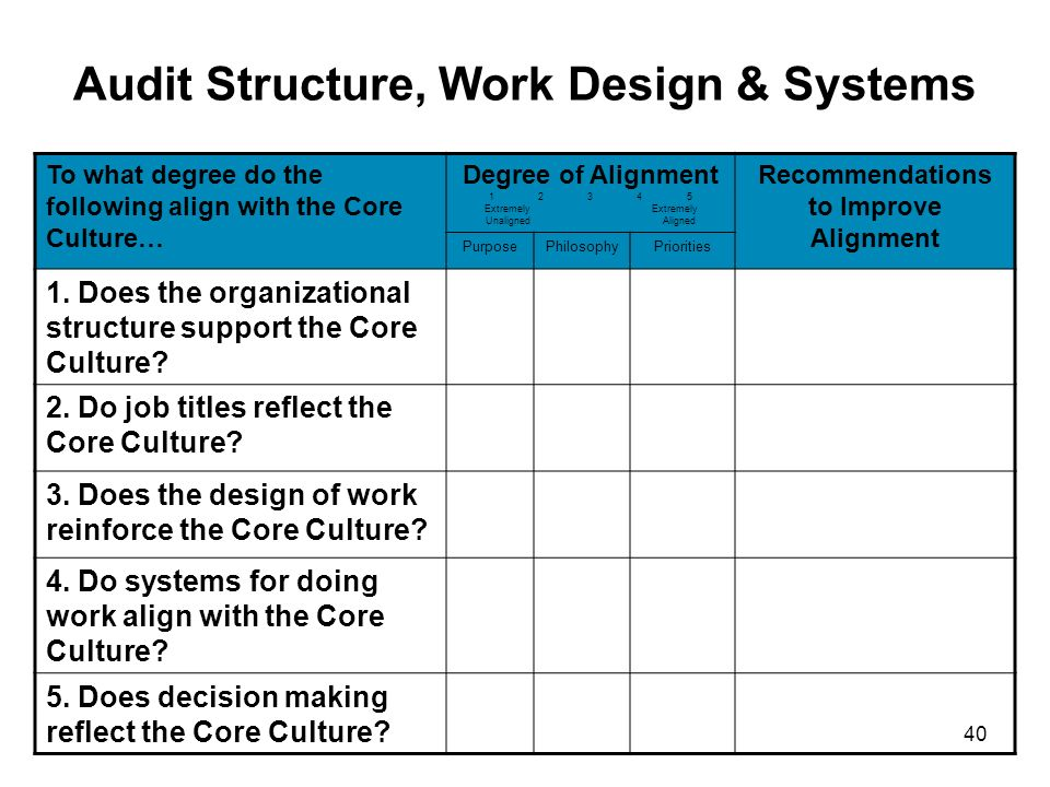 Audit Structure, Work Design & Systems