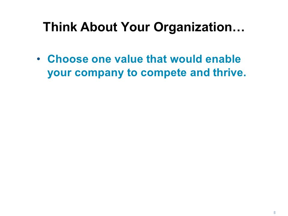 Think About Your Organization…