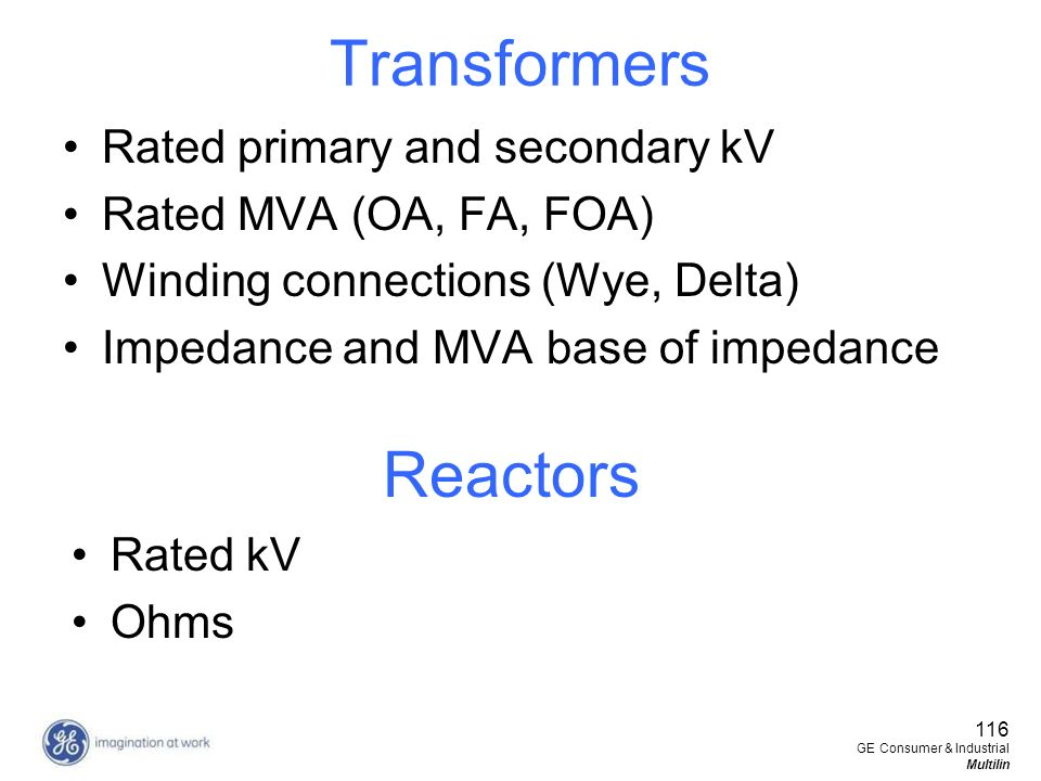 Transformers Reactors Rated primary and secondary kV