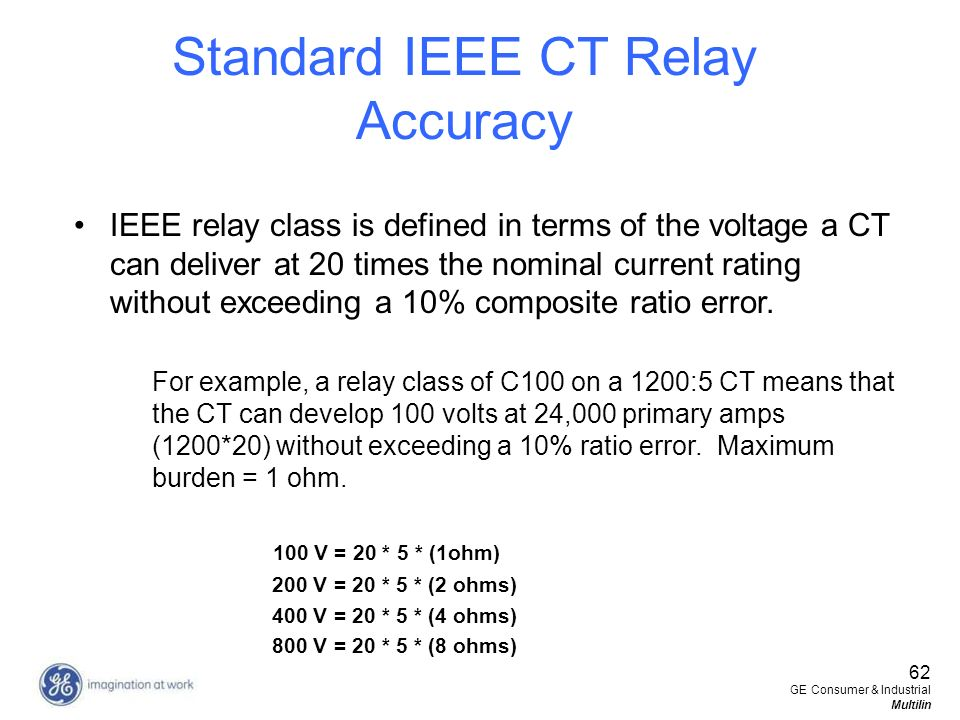 Standard IEEE CT Relay Accuracy