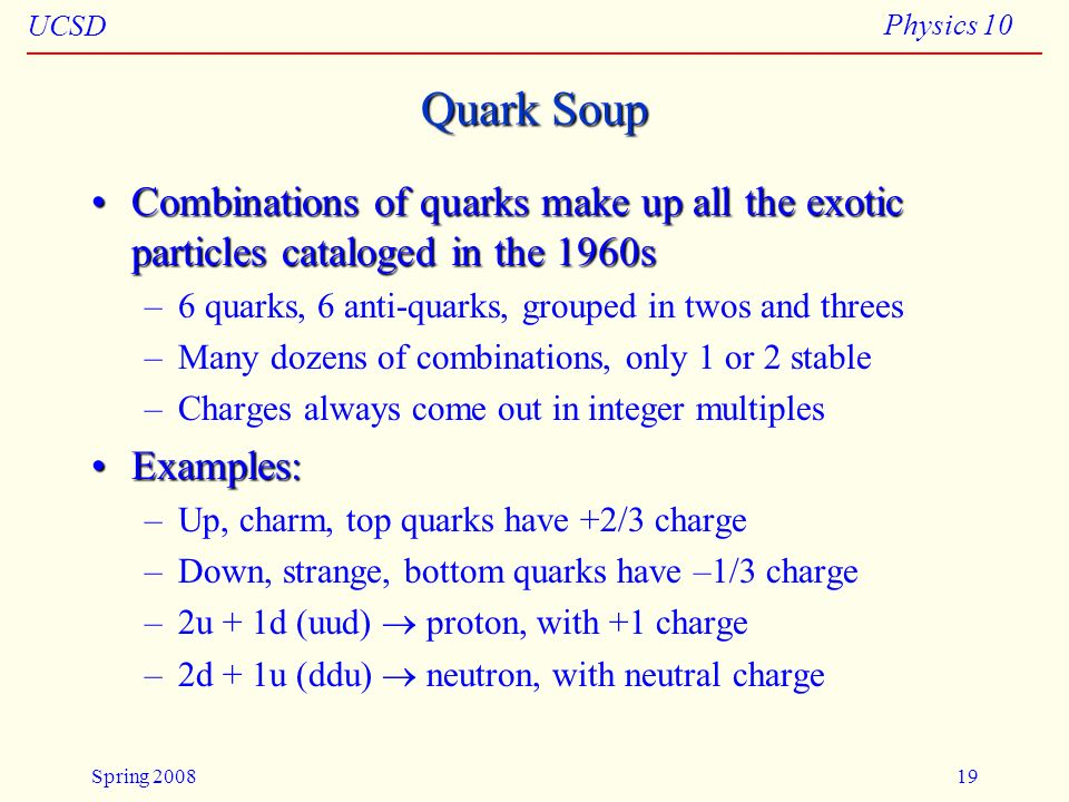 Particles 04/11/08. Quark Soup. Combinations of quarks make up all the exotic particles cataloged in the 1960s.
