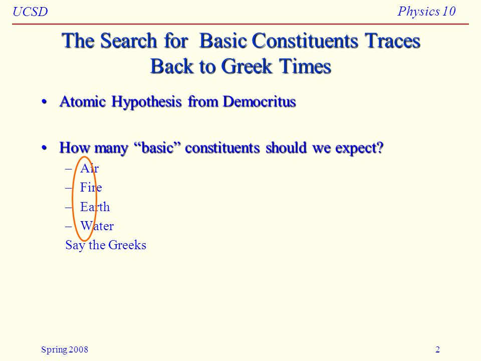 The Search for Basic Constituents Traces Back to Greek Times