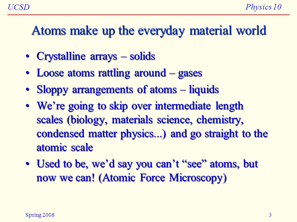 Atoms make up the everyday material world