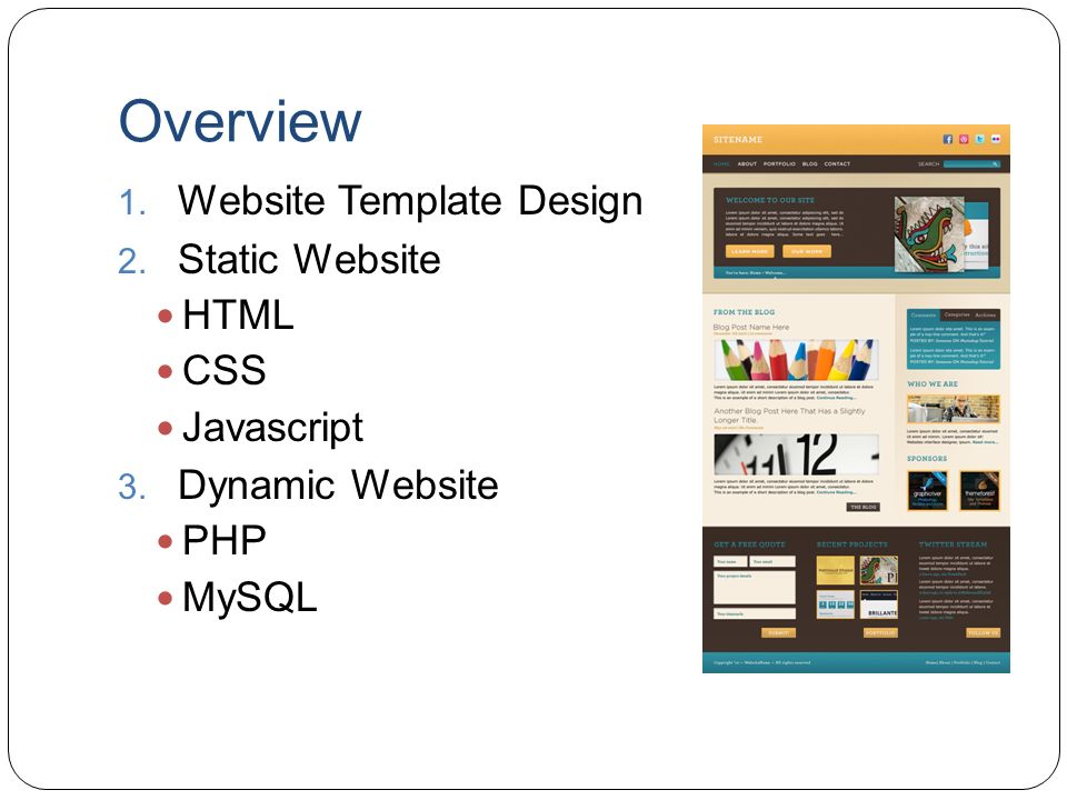 Overview Website Template Design Static Website HTML CSS Javascript