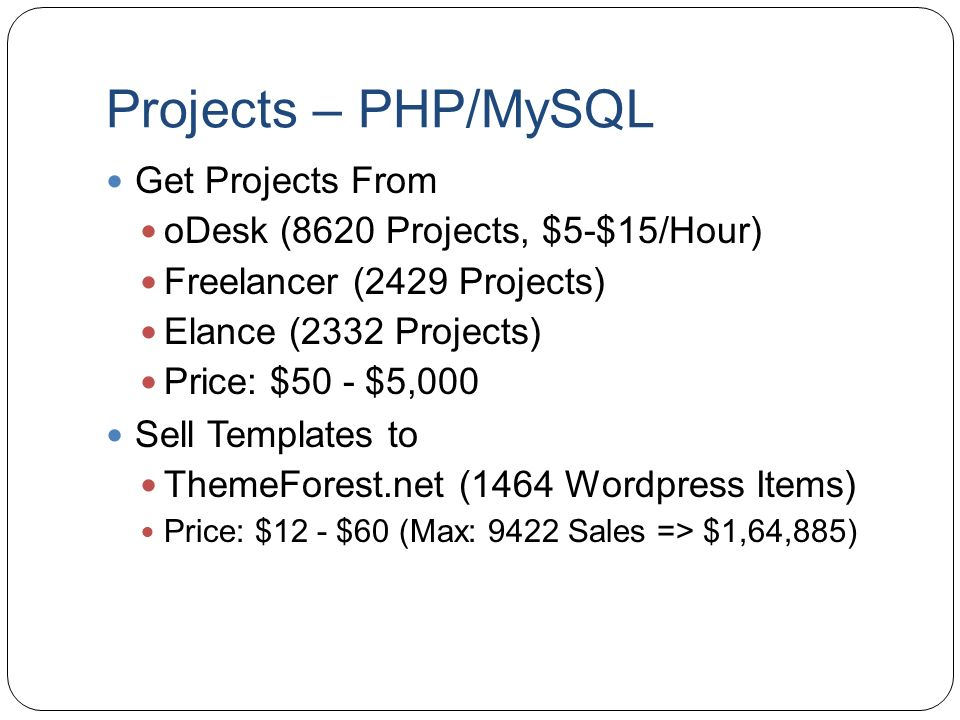 Projects – PHP/MySQL Get Projects From