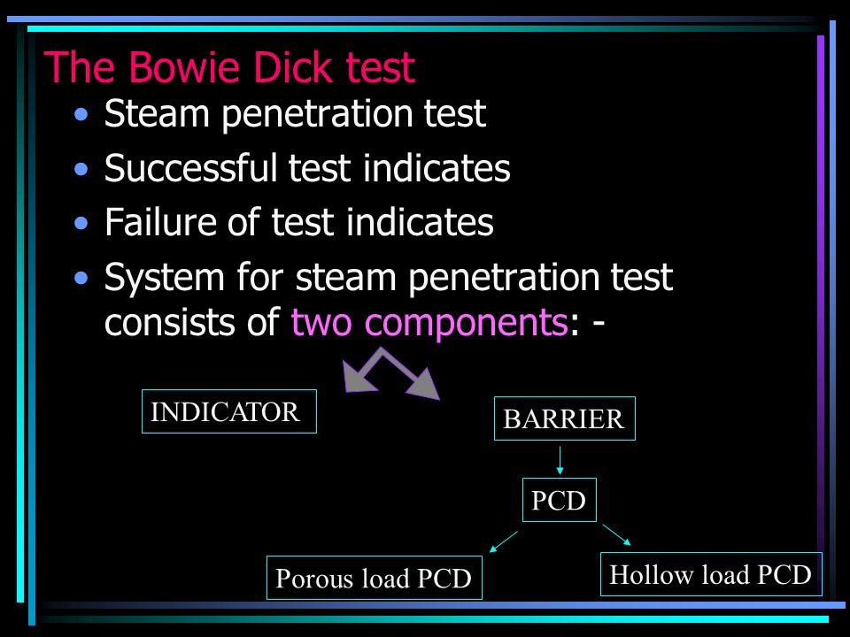 The Bowie Dick test Steam penetration test Successful test indicates