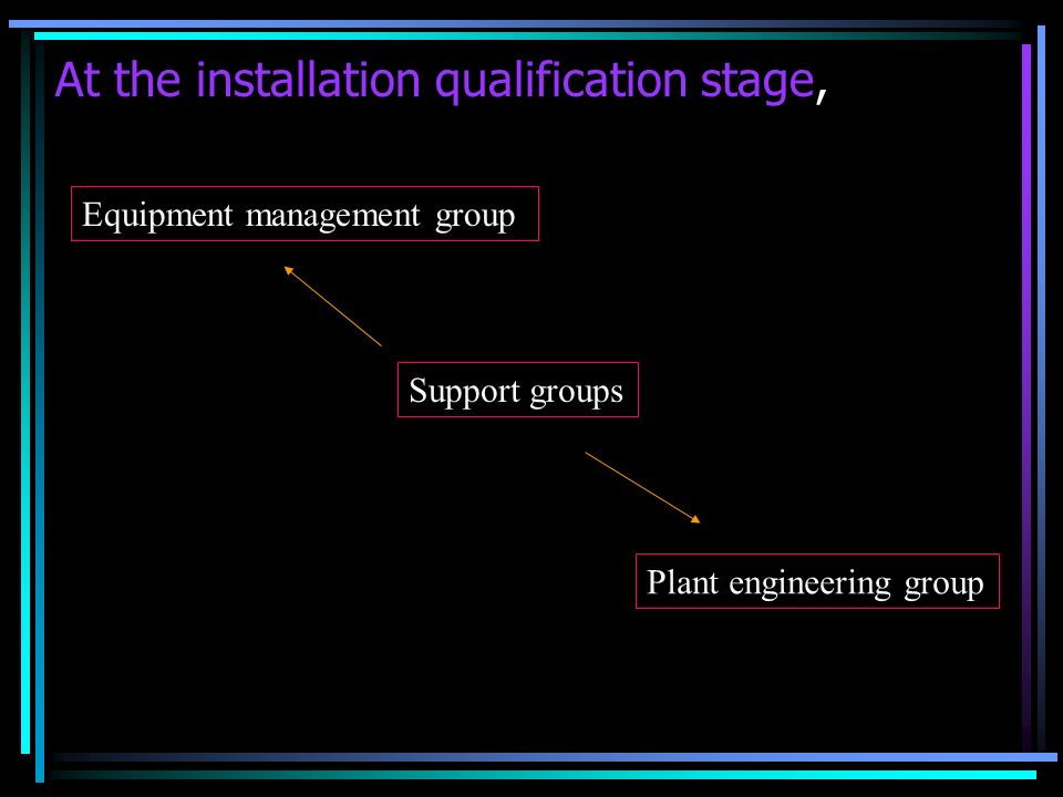 At the installation qualification stage,