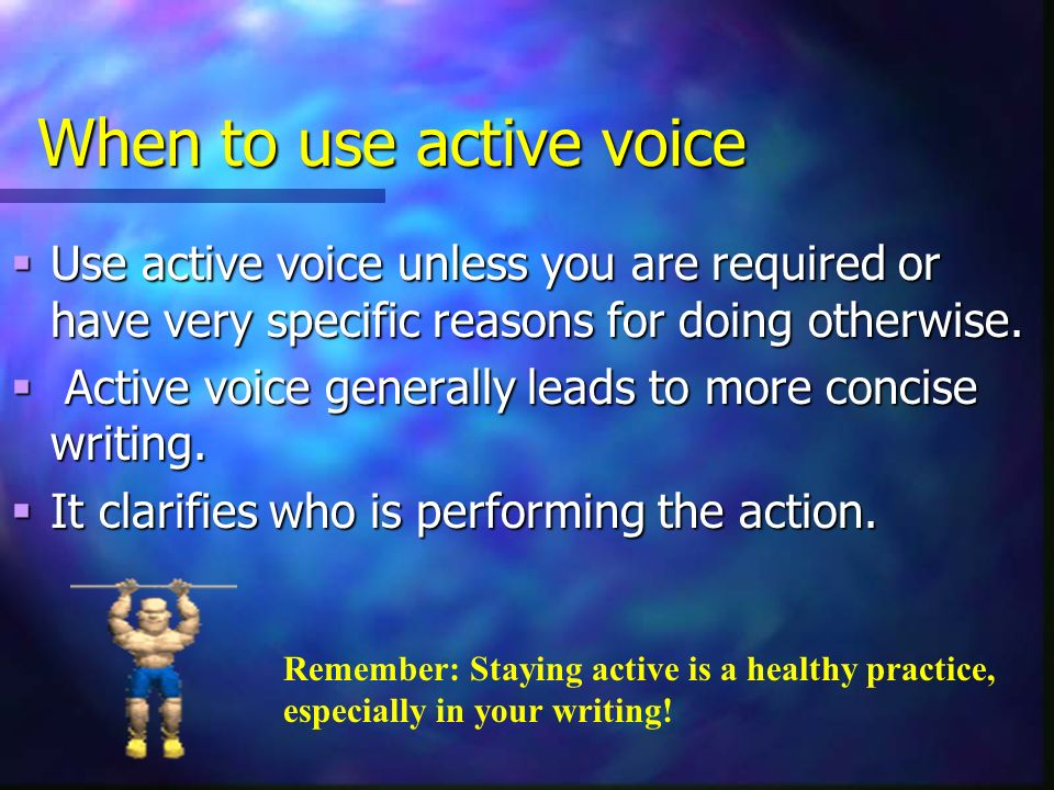 When to use active voice