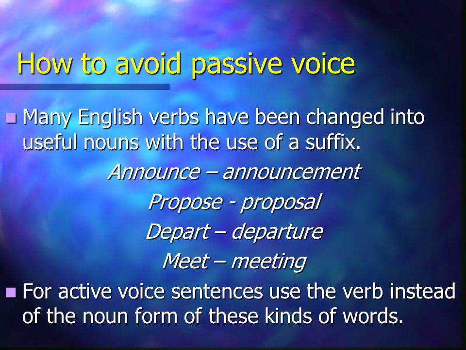 How to avoid passive voice