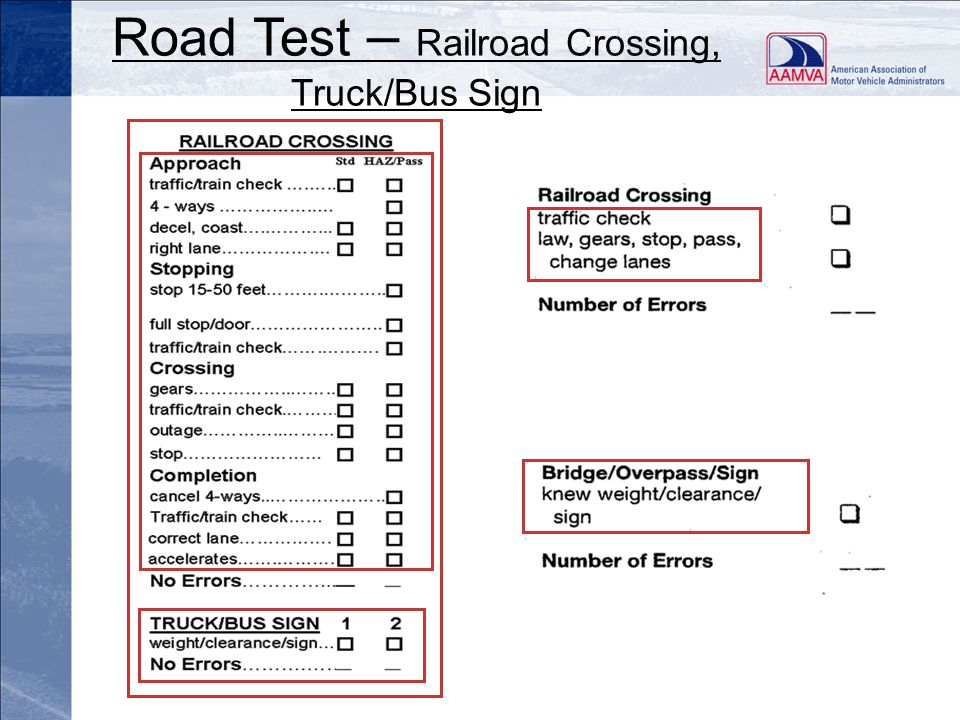Road Test – Railroad Crossing, Truck/Bus Sign