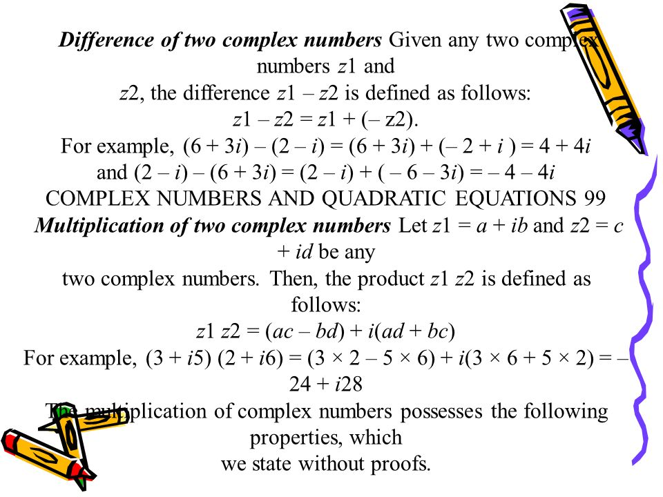 Difference of two complex numbers Given any two complex numbers z1 and