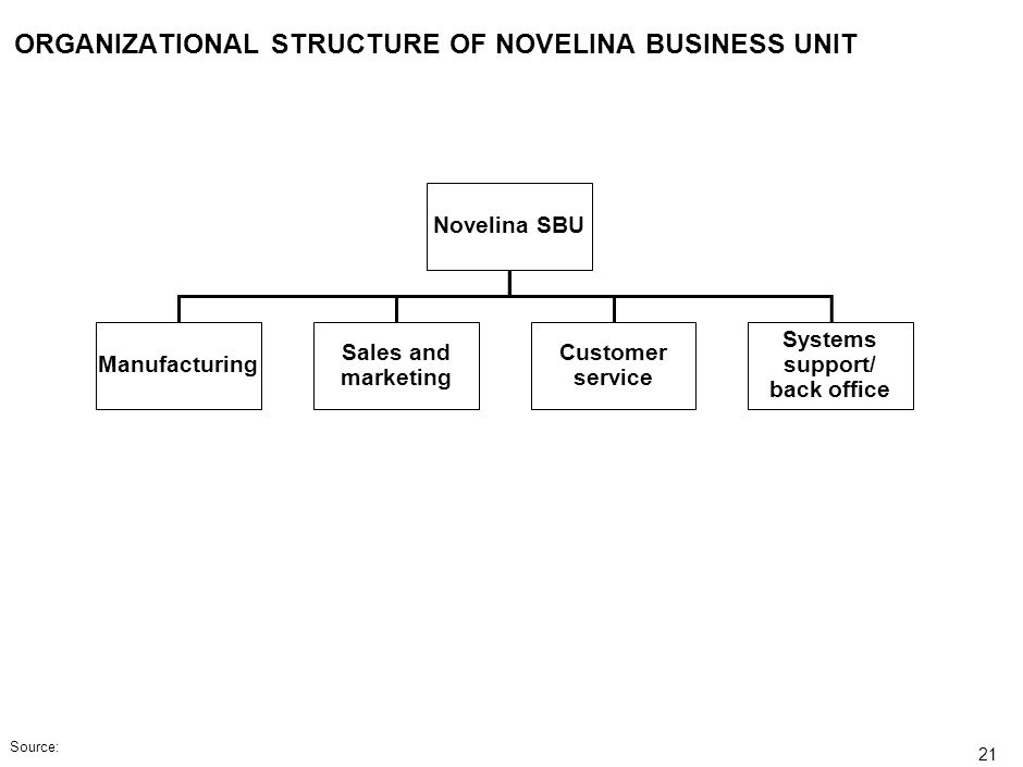 ORGANIZATIONAL STRUCTURE OF NOVELINA BUSINESS UNIT