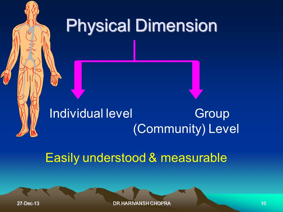 Physical Dimension Individual level Group (Community) Level