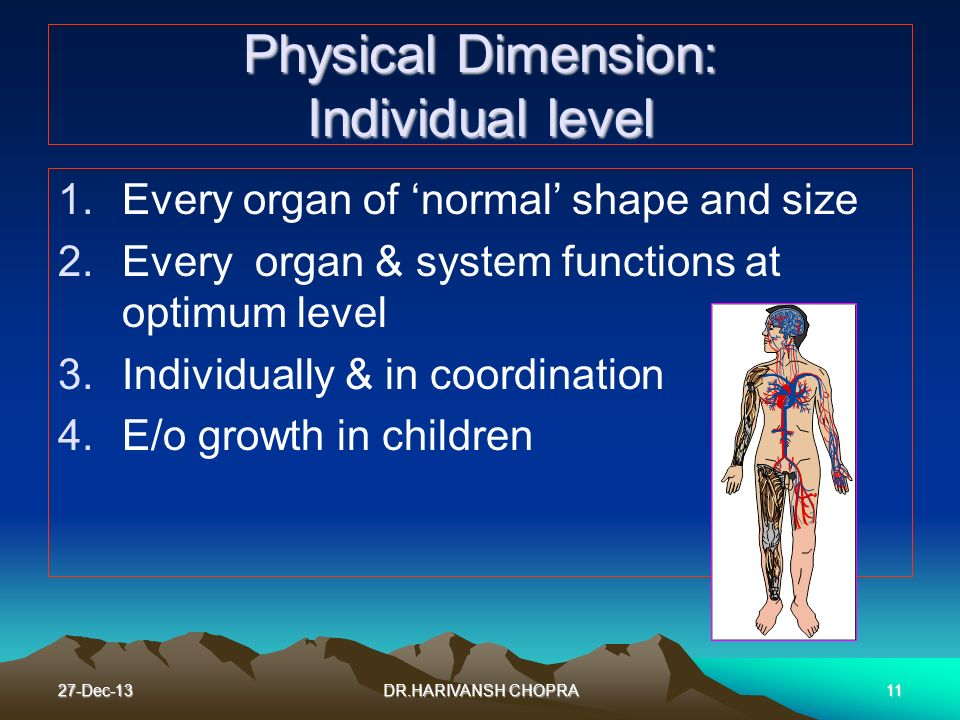 Physical Dimension: Individual level