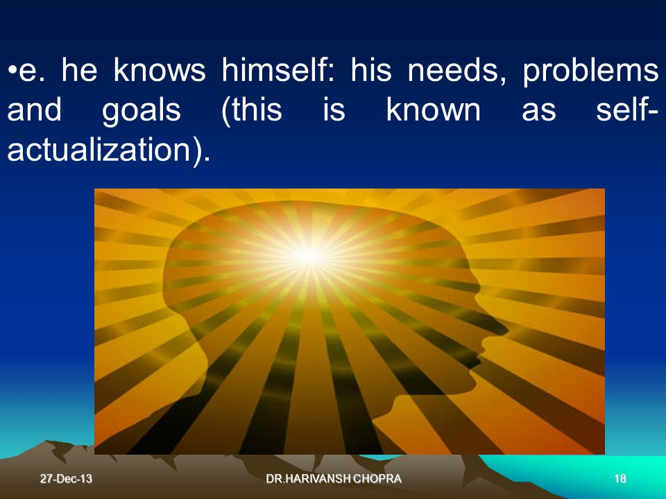 e. he knows himself: his needs, problems and goals (this is known as self-actualization).