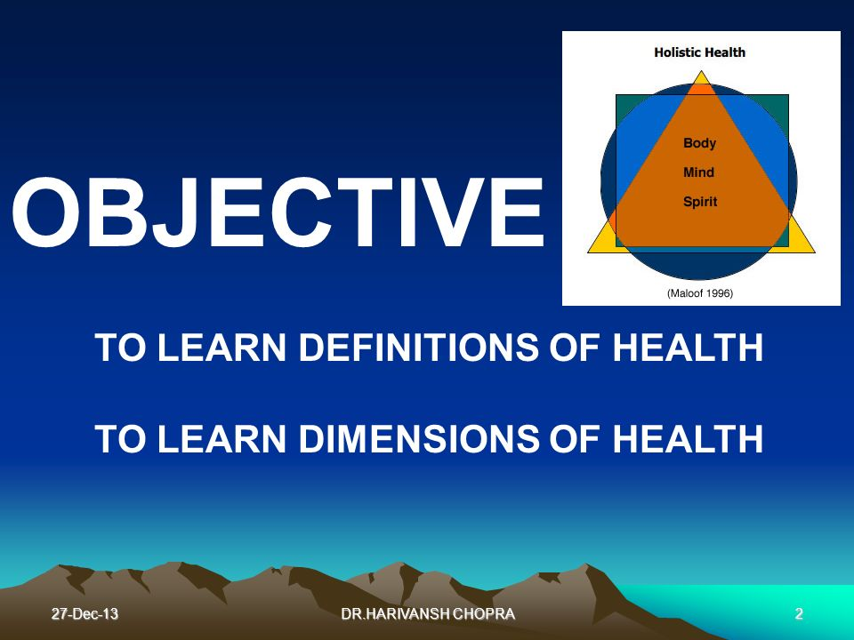 OBJECTIVE TO LEARN DEFINITIONS OF HEALTH TO LEARN DIMENSIONS OF HEALTH