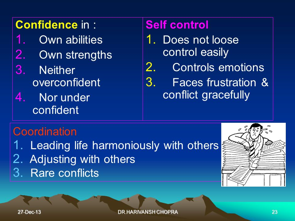 Neither overconfident Nor under confident Self control