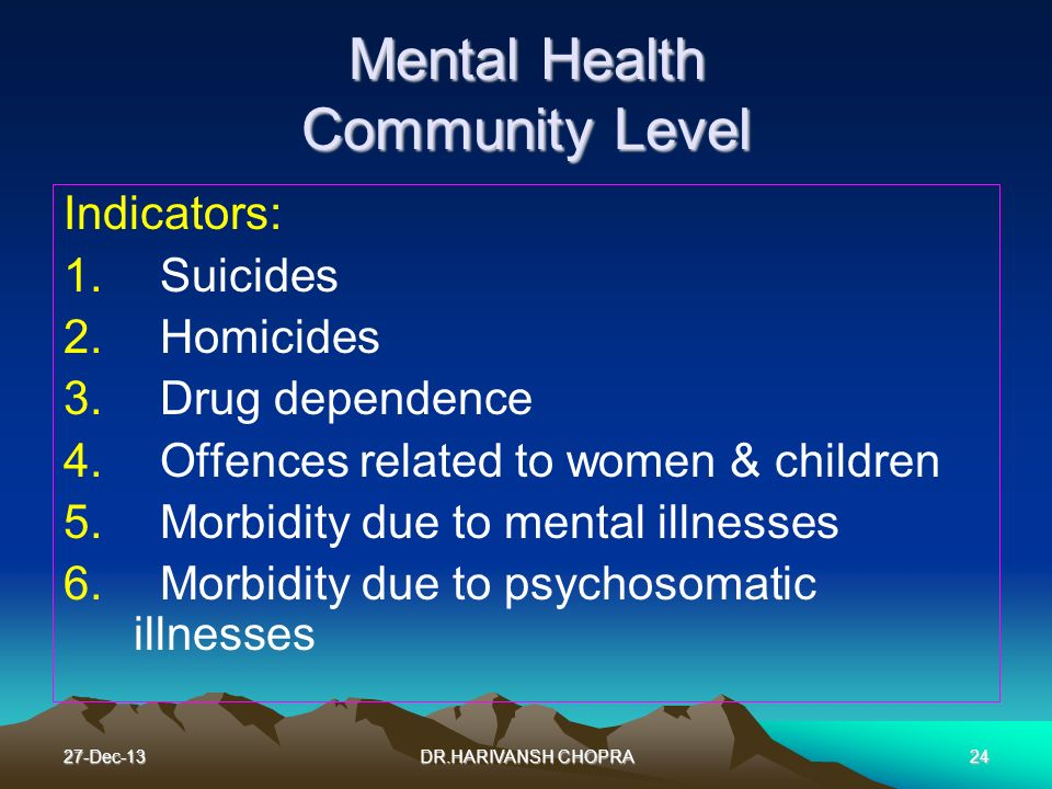Mental Health Community Level