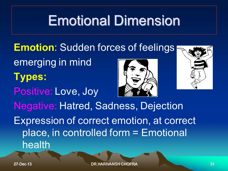 Emotional Dimension Emotion: Sudden forces of feelings