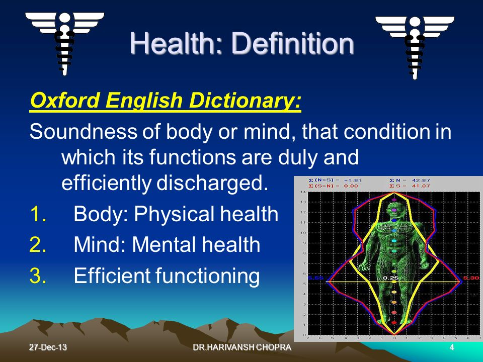 Health: Definition Oxford English Dictionary: