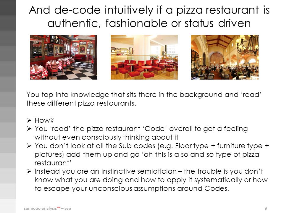 And de-code intuitively if a pizza restaurant is