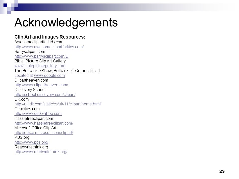 Acknowledgements Clip Art and Images Resources: