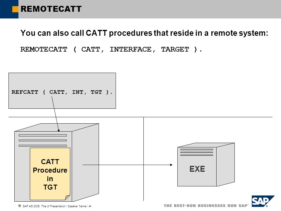 You can also call CATT procedures that reside in a remote system: