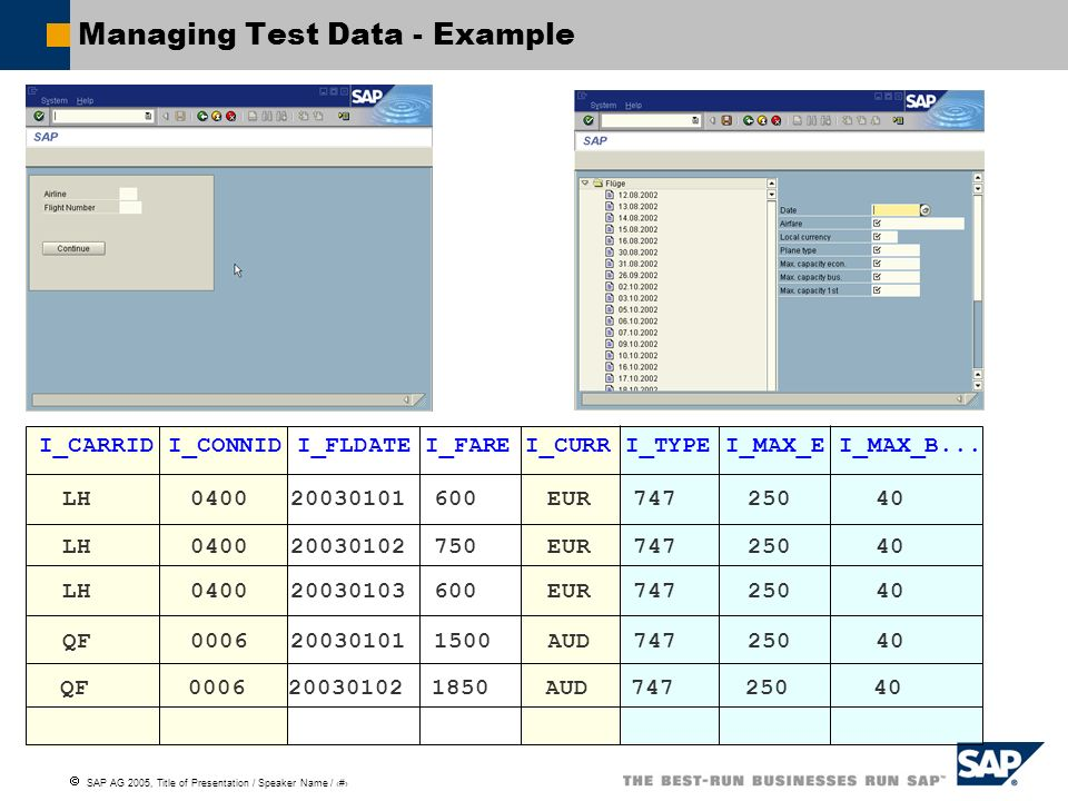 Managing Test Data - Example
