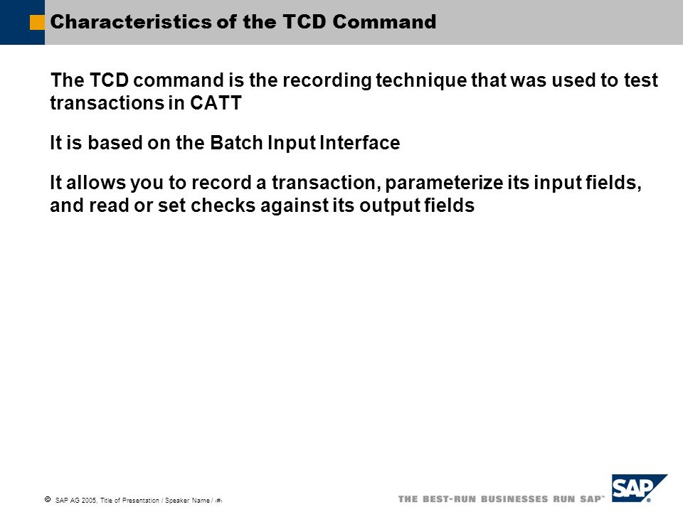 Characteristics of the TCD Command