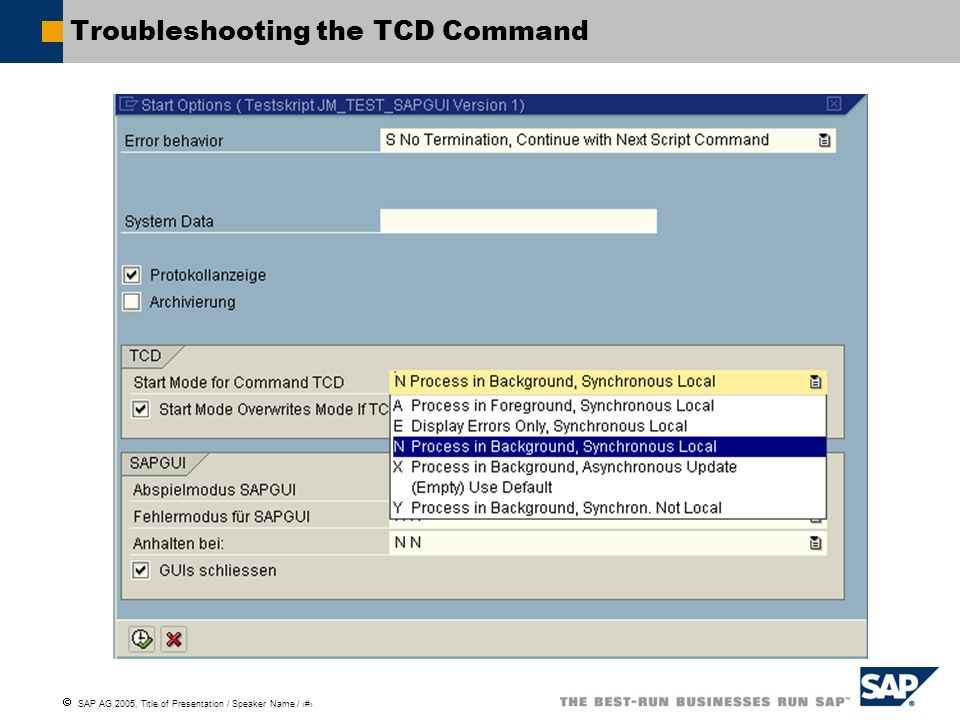 Troubleshooting the TCD Command