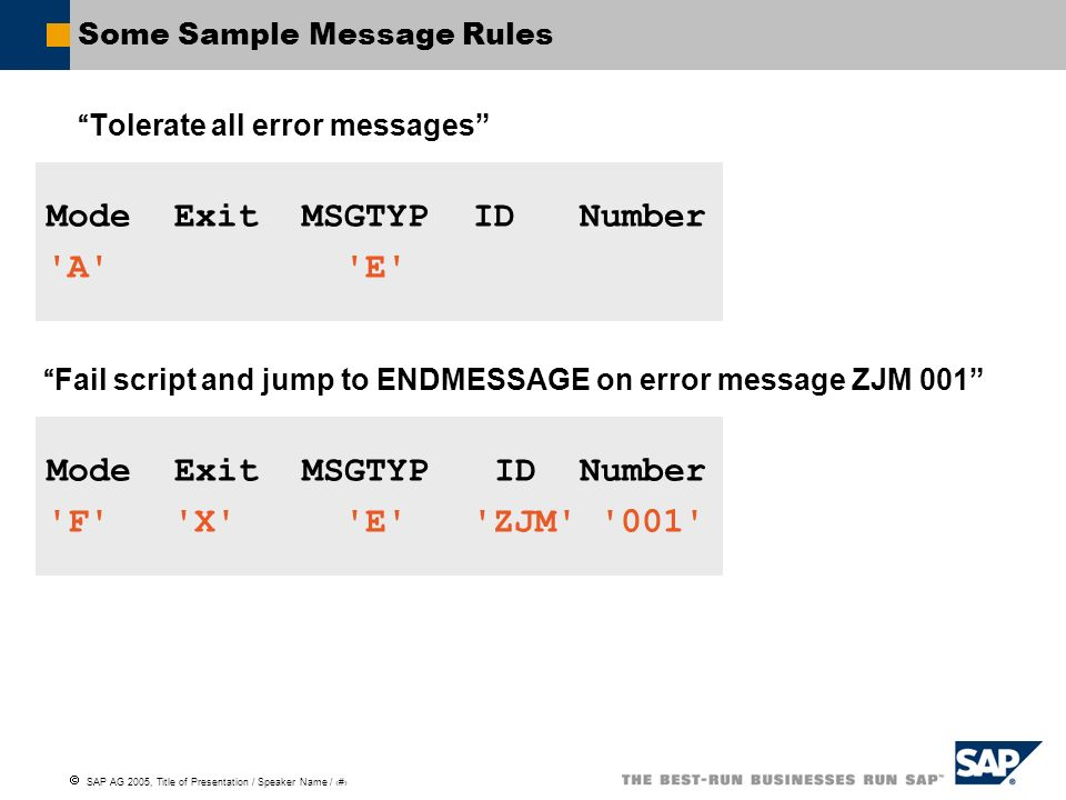 Some Sample Message Rules