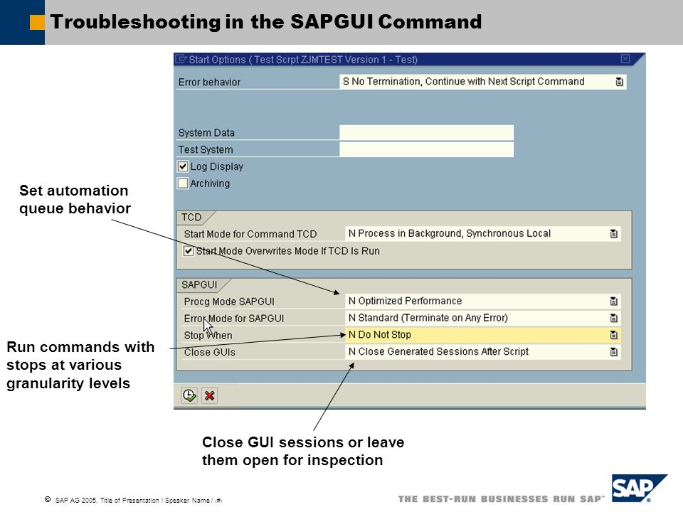 Troubleshooting in the SAPGUI Command