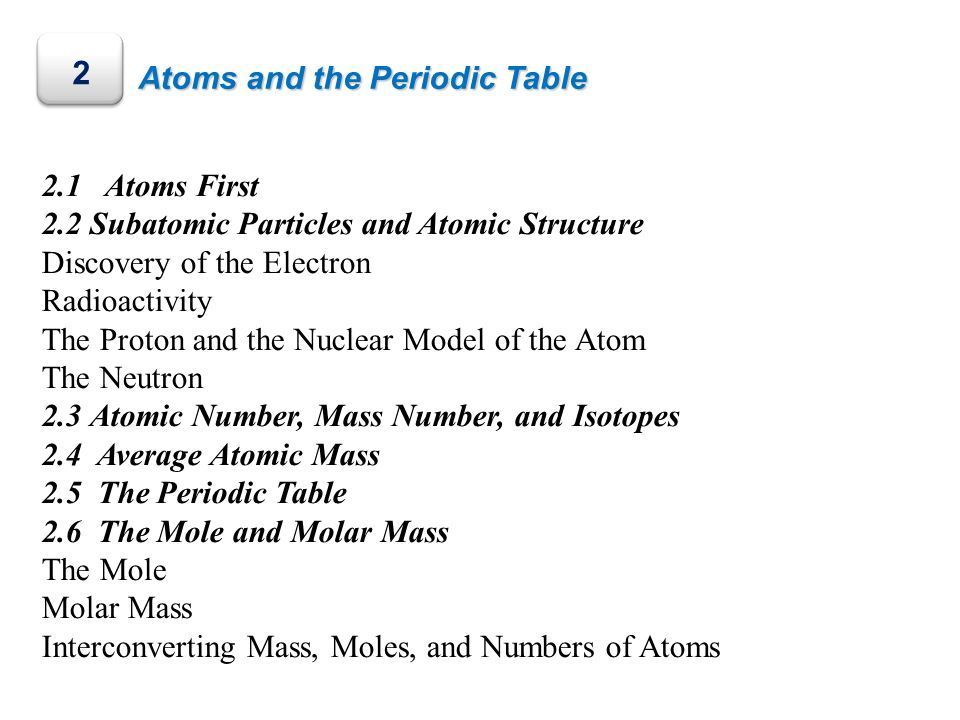 2 Atoms and the Periodic Table 2.1 Atoms First