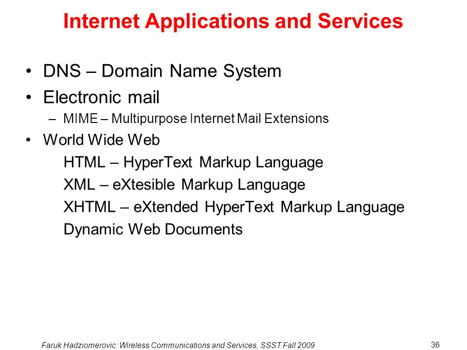 Internet Applications and Services