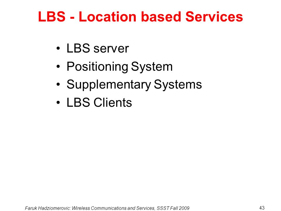 LBS - Location based Services