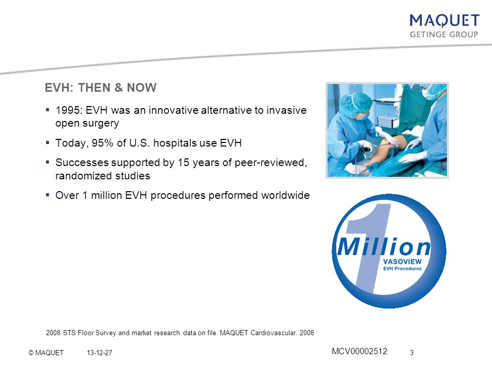 EVH: THEN & NOW 1995: EVH was an innovative alternative to invasive open surgery. Today, 95% of U.S. hospitals use EVH.