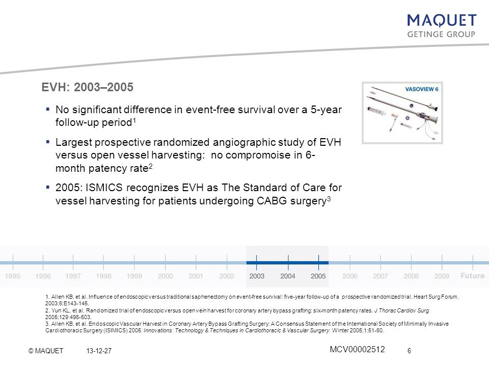 EVH: 2003–2005 No significant difference in event-free survival over a 5-year follow-up period1.