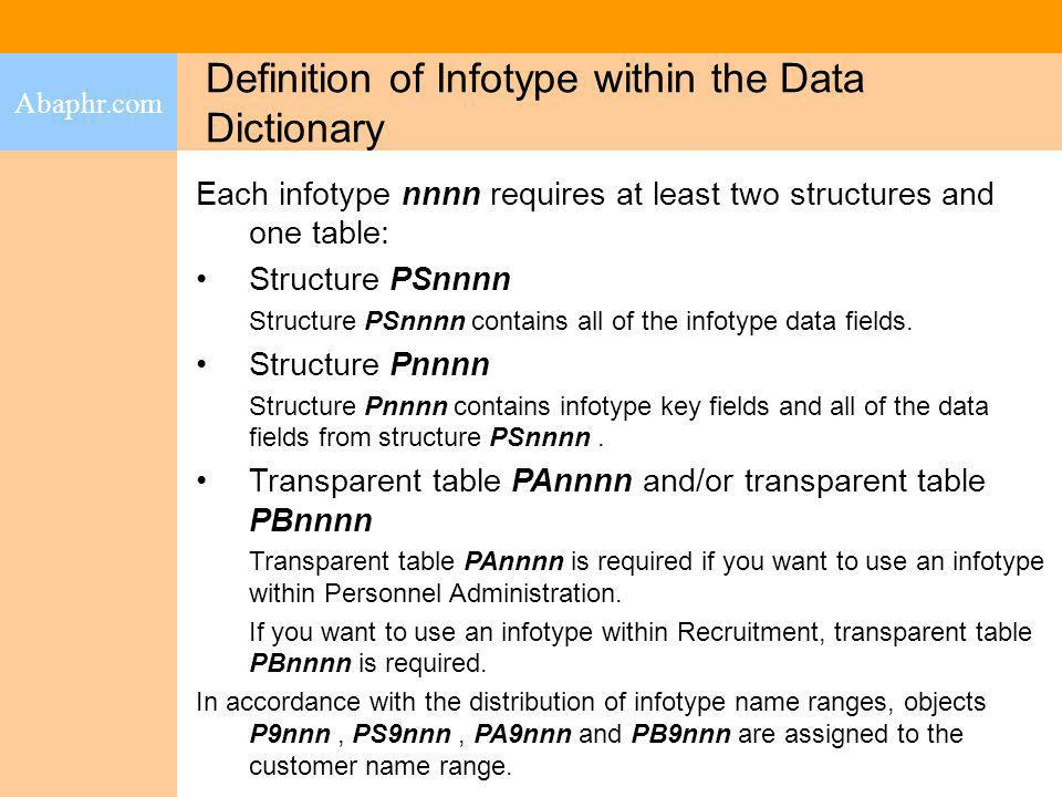Definition of Infotype within the Data Dictionary