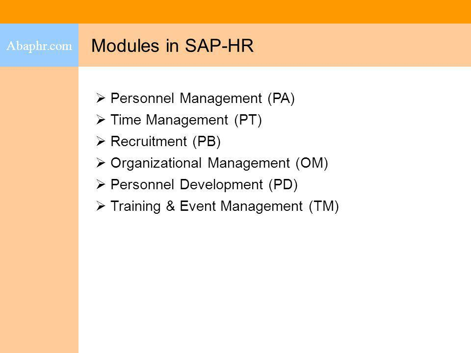 Modules in SAP-HR Personnel Management (PA) Time Management (PT)