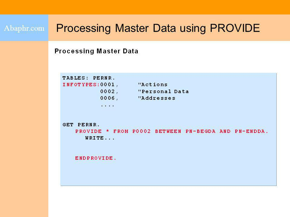 Processing Master Data using PROVIDE
