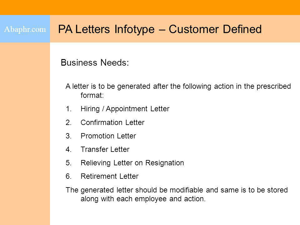 PA Letters Infotype – Customer Defined
