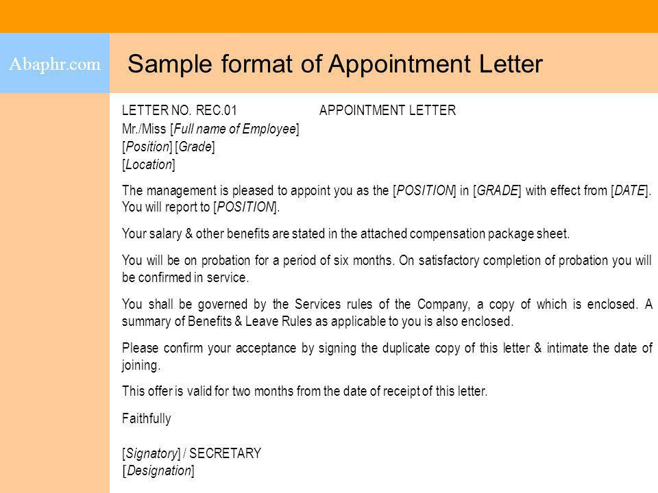 Sample format of Appointment Letter