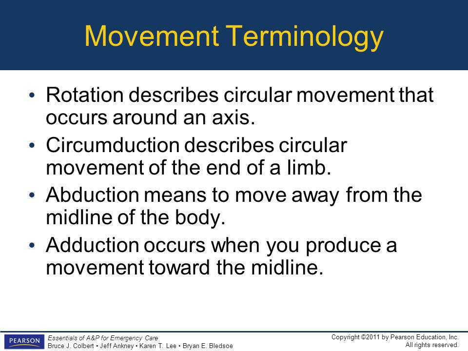 Movement Terminology Rotation describes circular movement that occurs around an axis.