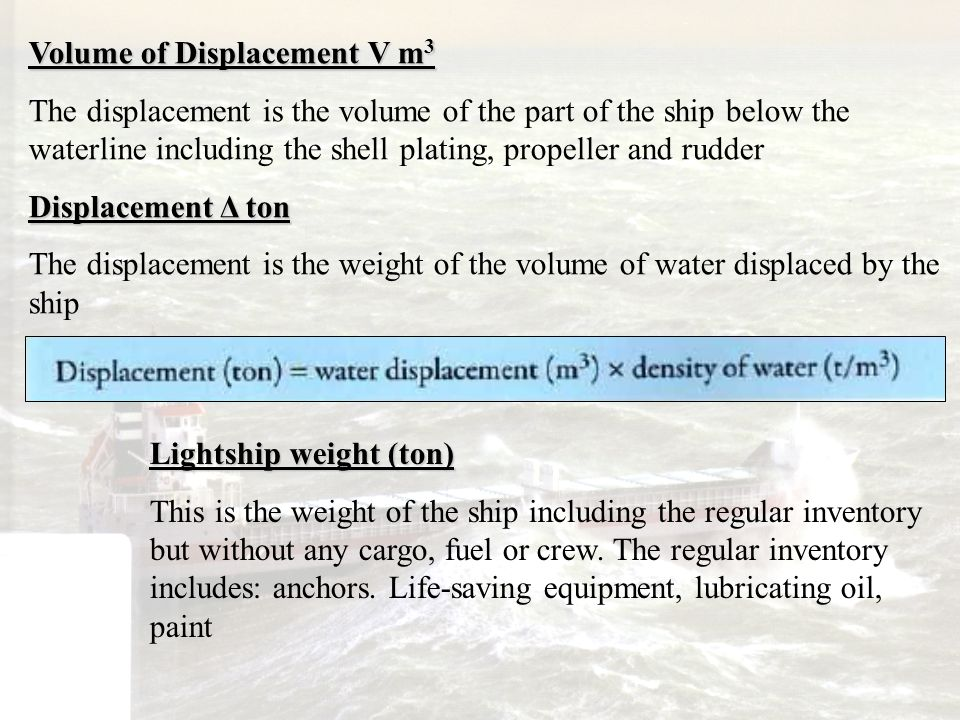 Volume of Displacement V m3